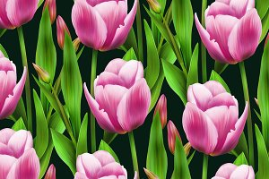 seamless pattern pink tulips