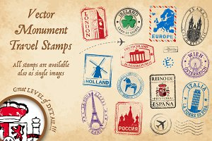 Monument Vector Travel Stamps 2