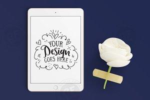 iPad Mini Mockup with flower on Navy