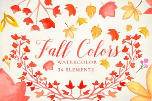 Watercolor Fall Colors Clipart SET