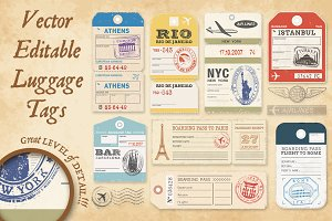 Vector Luggage Tags Illustrations 1