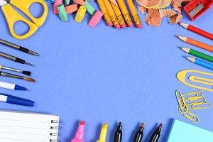 School Supplies on Blue