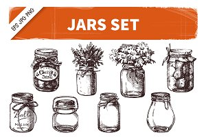 Hand Drawn Sketch Vintage Jars