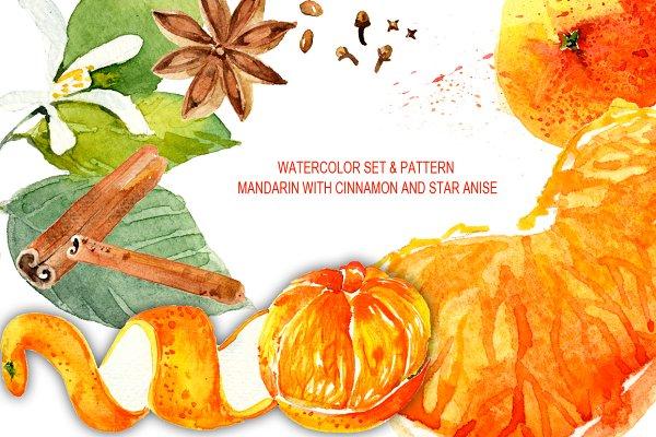 Watercolor Mandarin, cinnamon, anis…