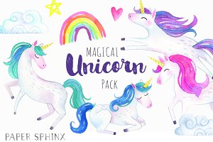 Magical Unicorns Watercolor Pack