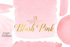 Blush Pink Watercolor Splash Clipart