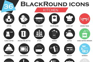 36 Kitchen tools icons set