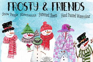 Frosty & Friends Watercolor Graphics