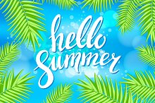 Hello Summer palm vector