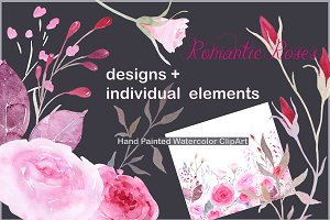 Watercolor Clipart Romantic Roses