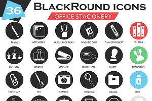 36 Office stationery icons