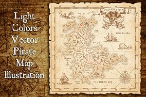 Pirate Treasure Map & Illustrations