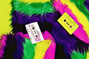 Retro. Audio cassettes and disco