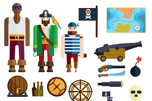 Pirate symbols vector illustration