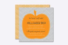 Chevron Pumpkin Halloween Invite