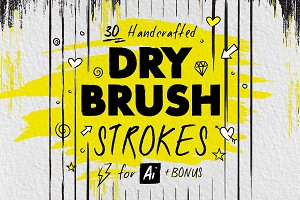 30 DRY BRUSH Strokes for Illustrator