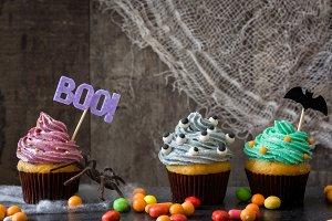 Halloween cupcakes and cobweb