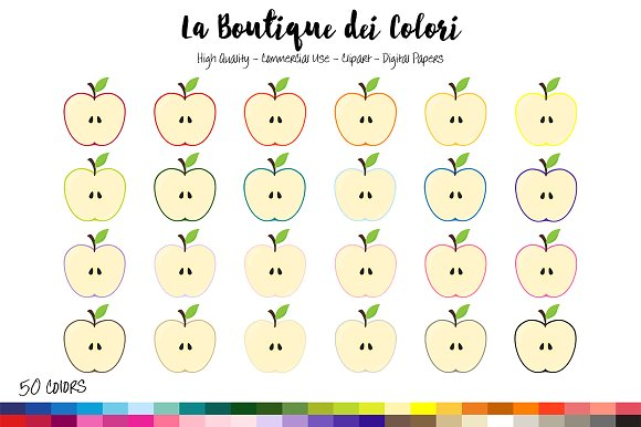 50 Rainbow Apple Half Clip Art