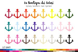 50 Rainbow Anchor Clip Art