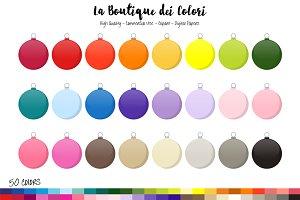 50 Rainbow Bauble Clip Art