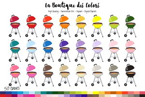 50 Rainbow BBQ Clip Art