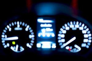 Blur of car speed meter