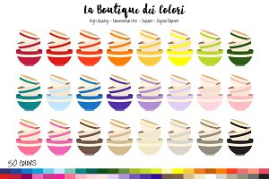 50 Rainbow Bowls Clip Art