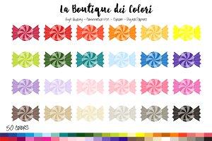 50 Rainbow Candy Swirl Clip Art
