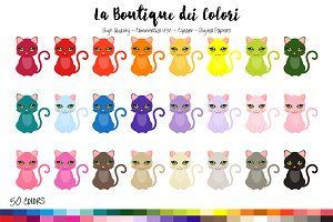 50 Rainbow Cat Clip Art