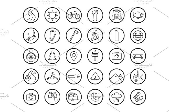 Camping. 30 icons. Vector - Icons