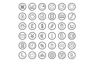Finance and banking 36 icons. Vector