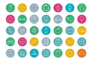 Fitness. 35 icons. Vector