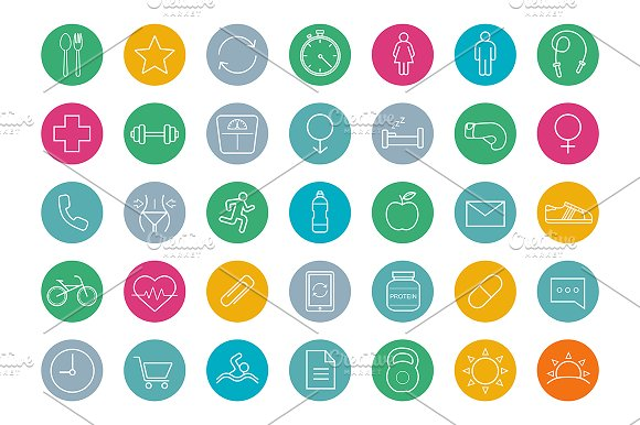 Fitness. 35 icons. Vector - Icons