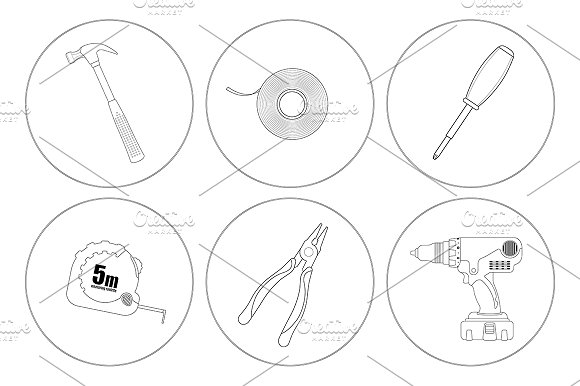 Repair tools. 6 icons. Vector - Icons