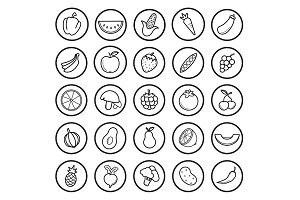 Fruit and vegetable 25 icons. Vector