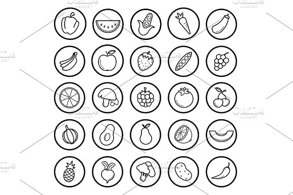 Fruit and vegetable 25 icons. Vector - Icons