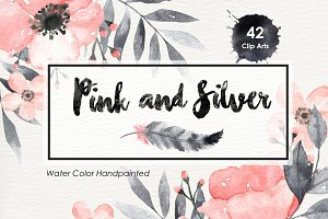 Pink and Silver Flower Clip Arts