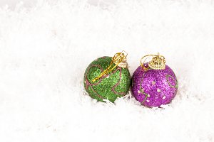 pink and green baubles