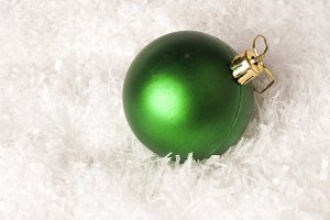 green bauble isolated on white