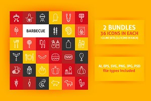 Barbecue Grill Line Art Icons