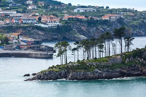 Lekeitio town coastline, Spain.