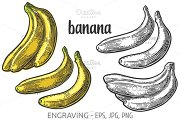Two single and bunches banana