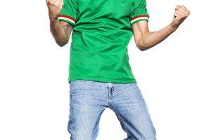 man jump with green shirt