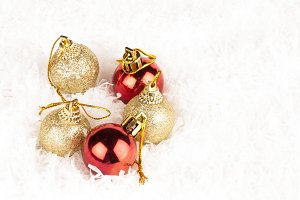 colorful baubles on white
