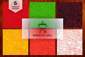 Barbecue Grill Line Tile Patterns