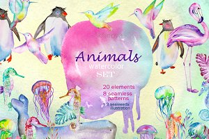Animals watercolor set