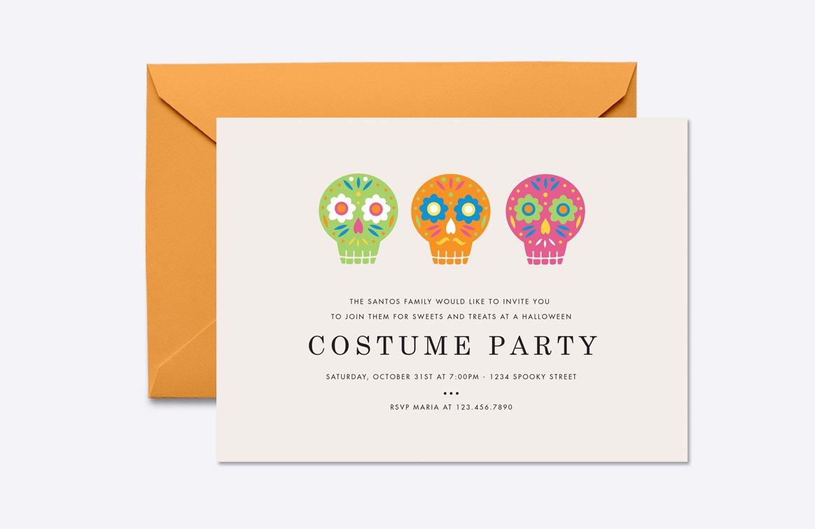 Sugar skulls halloween invite invitation templates creative market maxwellsz