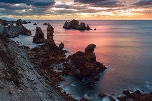 Sunset Arnia Beach coastline
