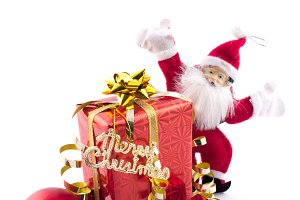 santa claus with gift and baubles