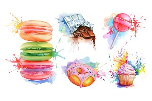 Watercolor confectionery set